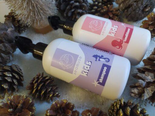 Πακέτο δώρου Παιδικό Σαμπουάν με εκχύλισμα Χαμομηλιού & Κρόκου 250ml και Μαλακτική Κρέμα Μαλλιών για Παιδιά με Ροδόνερο 250ml